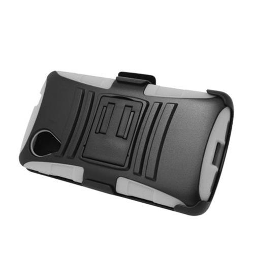 Insten Armor Hard Hybrid Silicone Case w/stand/Holster For LG Google Nexus 5 D820, Black/White