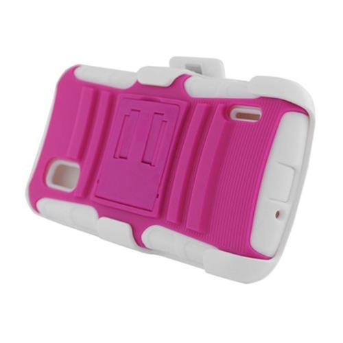 Insten Armor Hard Dual Layer Plastic Case w/stand For LG Google Nexus 4 E960, Hot Pink/White