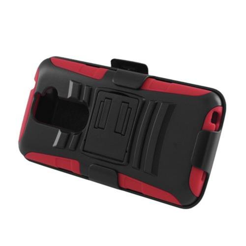 Insten Armor Hard Hybrid Plastic Case w/stand For LG G2 D801 T-Mobile/G2 LS980 Sprint, Black/Red