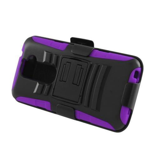 Insten Armor Hard Hybrid Plastic Case w/stand For LG G2 D801 T-Mobile/G2 LS980 Sprint, Black/Purple
