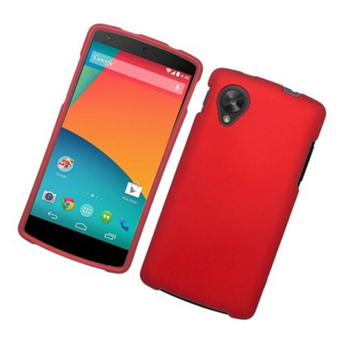 Insten Hard Rubberized Cover Case For LG Google Nexus 5 D820, Red