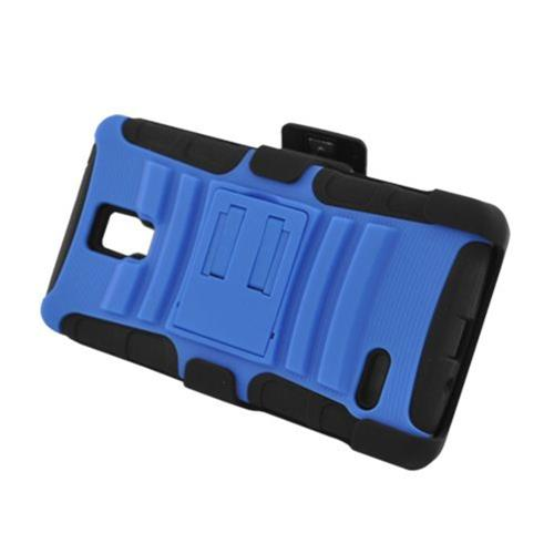 Insten Armor Hard Hybrid Plastic Silicone Case w/stand/Holster For LG Optimus L9 P769, Blue/Black