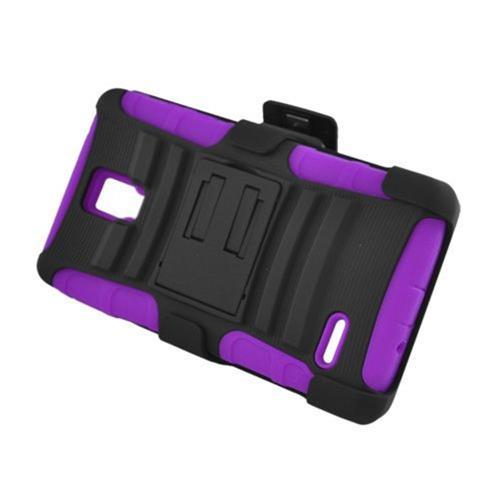 Insten Armor Hard Hybrid Plastic Silicone Case w/stand/Holster For LG Optimus L9 P769, Black/Purple