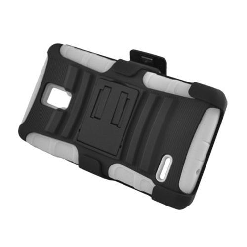 Insten Armor Hard Hybrid Plastic Silicone Case w/stand/Holster For LG Optimus L9 P769, Black/White
