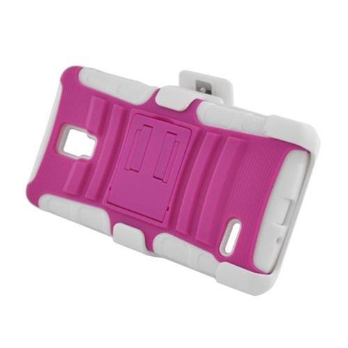 Insten Armor HardPlastic Silicone Case w/stand/Holster For LG Optimus L9 P769, Hot Pink/White