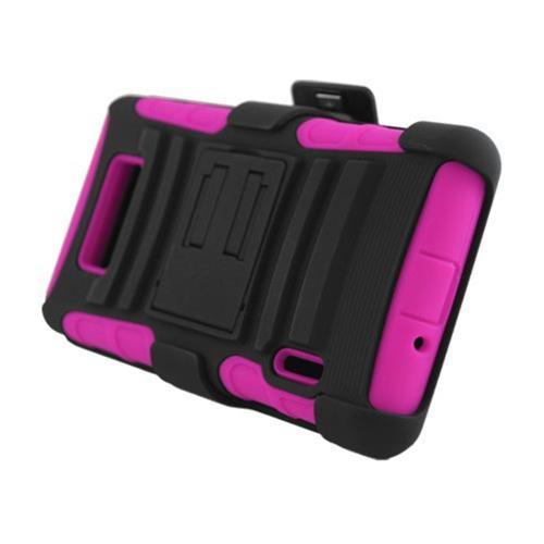 Insten Armor HardPlastic Case w/stand For LG Splendor US730 / Venice LG730, Black/Hot Pink