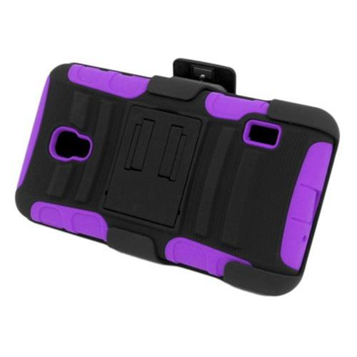 Insten Armor Hard Hybrid Silicone Case w/stand/Holster For LG Optimus F6 MS500, Black/Purple