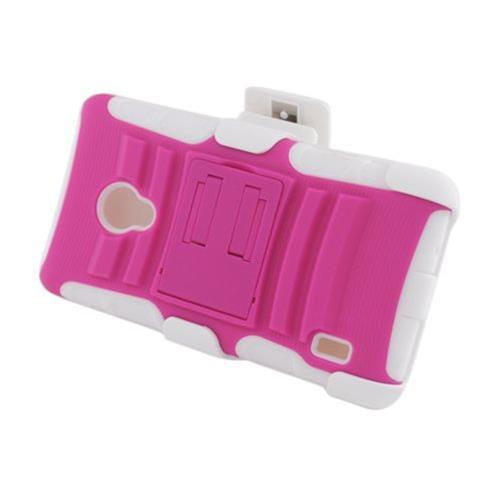 Insten Armor HardPlastic Silicone Case w/stand/Holster For LG Lucid 2 VS870, Hot Pink/White