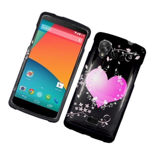 Insten Flowery Heart Hard Cover Case For LG Google Nexus 5 D820, Black/Hot Pink