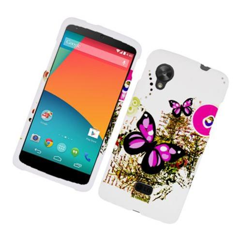 Insten Butterfly Hard Rubberized Cover Case For LG Google Nexus 5 D820, White/Pink