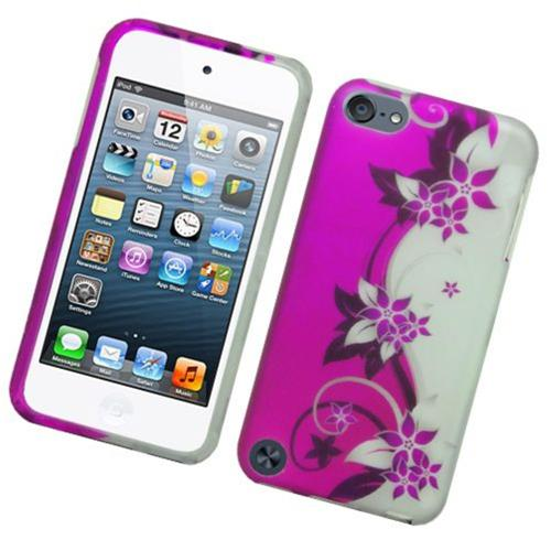 Insten Vine Flower Hard Rubber Case For Apple iPod Touch 5th Gen, Purple/Silver