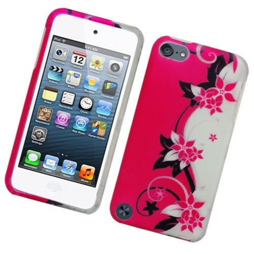 Insten Vine Flower Hard Case For Apple iPod Touch 5th Gen, Hot Pink/Silver
