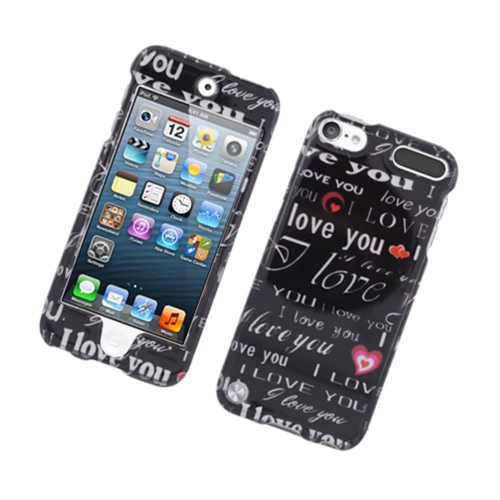 Insten Love You Hard Case For Apple iPod Touch 5th Gen, Black/White