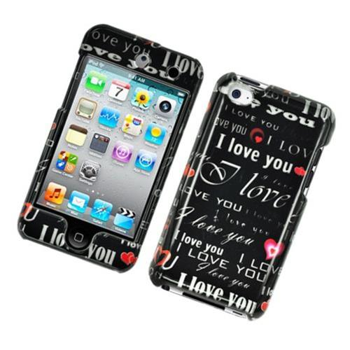 Insten Love You Hard Cover Case For Apple iPod Touch 4th Gen, Black/White