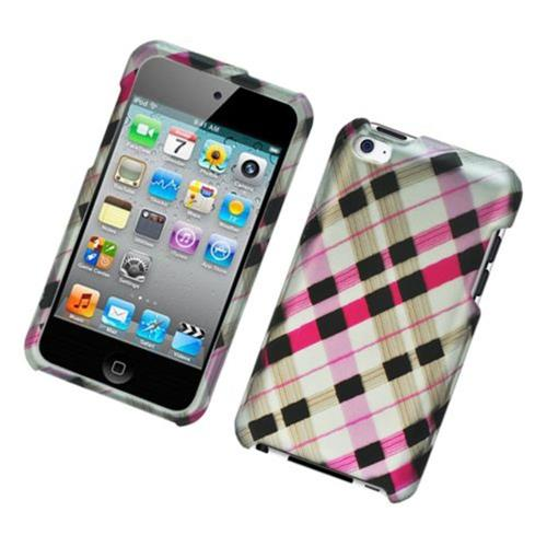 Insten Checker Hard Rubber Cover Case For Apple iPod Touch 4th Gen, Pink/Black