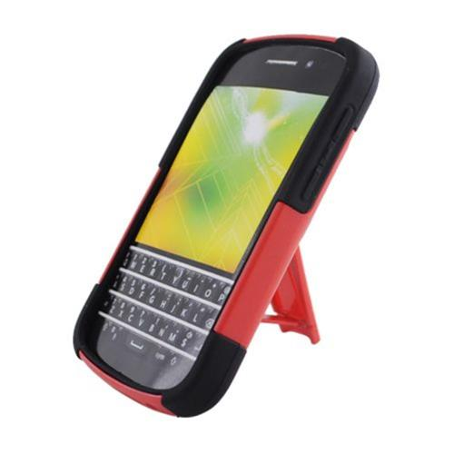 Insten Hard Hybrid Plastic Silicone Cover Case w/stand For BlackBerry Q10, Red/Black