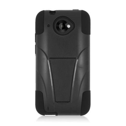 Insten Hard Dual Layer Plastic Silicone Case w/stand For HTC Desire 601, Black