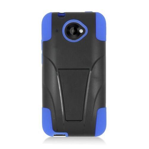 Insten Hard Hybrid Plastic Silicone Cover Case w/stand For HTC Desire 601, Black/Blue