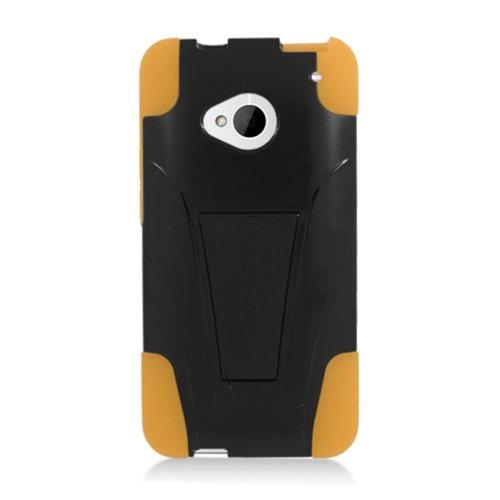 Insten Hard Hybrid Plastic Silicone Case w/stand For HTC One M7, Black/Yellow