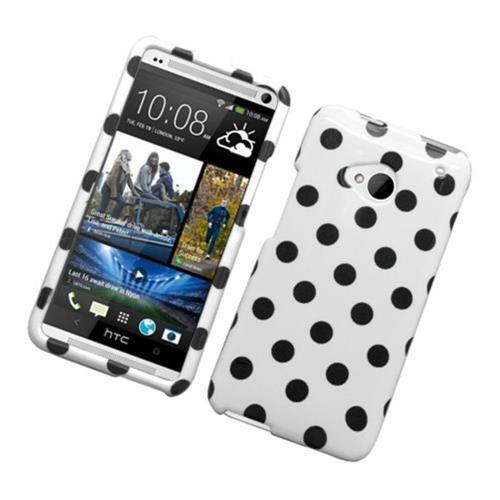 Insten Polka Dots Hard Plastic Cover Case For HTC One M7, White/Black