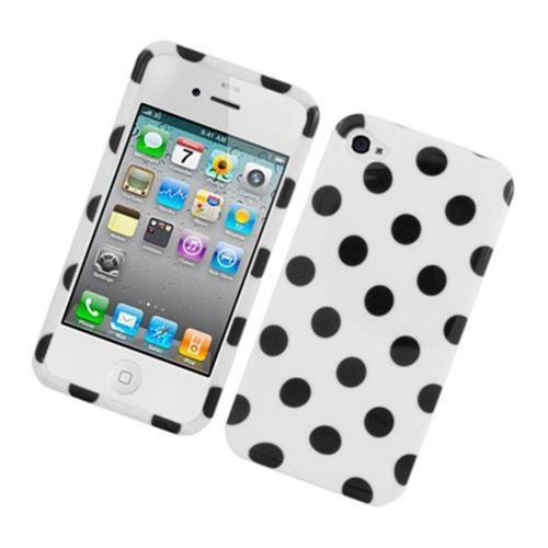 Insten Polka Dots Hard Plastic Cover Case For Apple iPhone 4/4S, White/Black