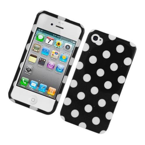Insten Polka Dots Hard Plastic Cover Case For Apple iPhone 4/4S, Black/White