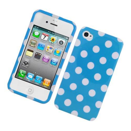 Insten Polka Dots Hard Plastic Cover Case For Apple iPhone 4/4S, Blue/White