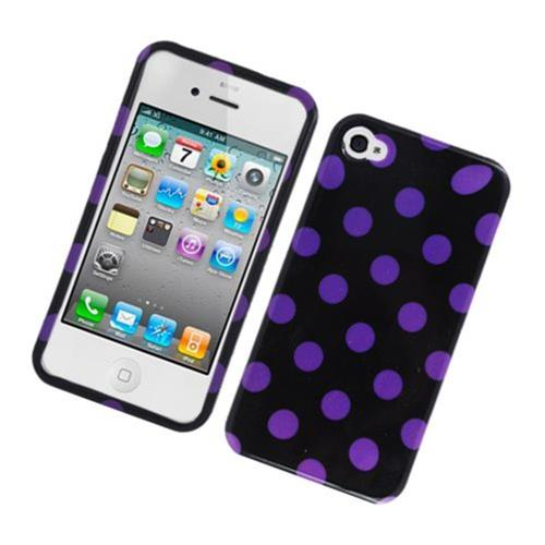 Insten Polka Dots Hard Plastic Cover Case For Apple iPhone 4/4S, Black/Purple