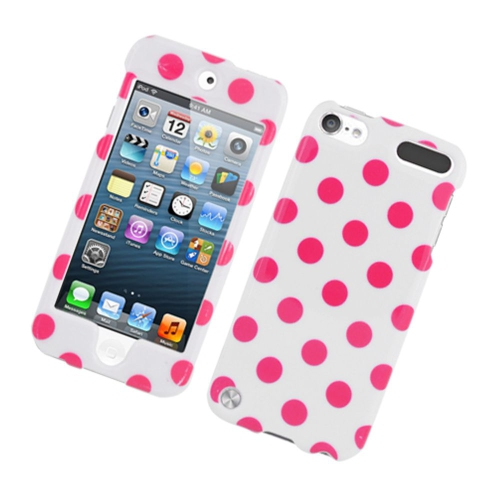Insten Polka Dots Hard Plastic Cover Case For Apple iPod Touch 5th Gen, White/Pink