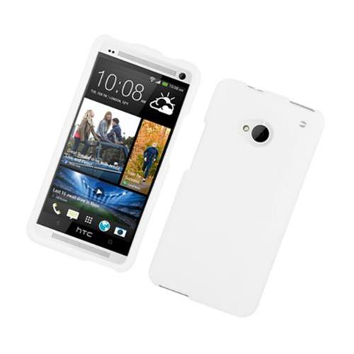 Insten Hard Rubber Coated Cover Case For HTC One M7, White