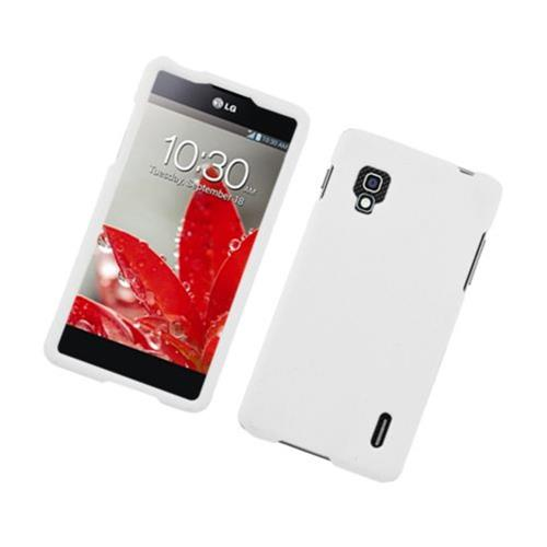 Insten Hard Rubber Coated Cover Case For LG Optimus G E970, White