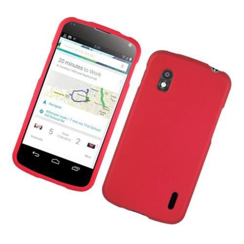 Insten Hard Rubber Case For LG Google Nexus 4 E960, Red