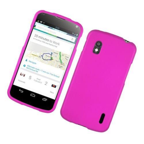 Insten Hard Rubberized Case For LG Google Nexus 4 E960, Hot Pink