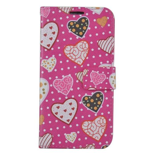 Insten Hearts Leather Fabric Case w/stand/card holder/Photo Display For Samsung Galaxy S7, Pink