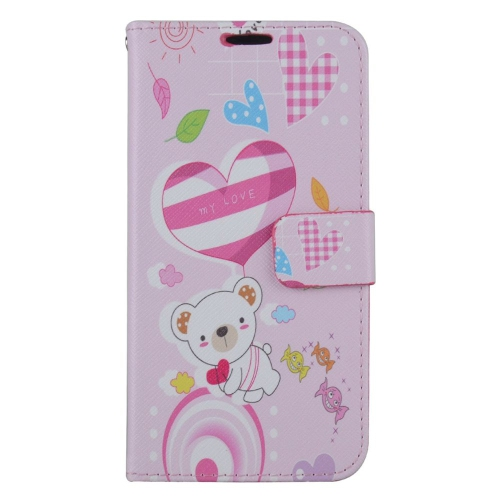 Insten Bear Leather Fabric Case w/stand/card holder/Photo Display For Samsung Galaxy S7, Colorful