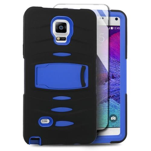 Insten Skin Dual Layer Rubber Hard Case w/stand/Installed For Samsung Galaxy Note 4, Black/Blue