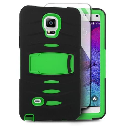 Insten Skin Dual Layer Rubber Hard Case w/stand/Installed For Samsung Galaxy Note 4, Black/Green