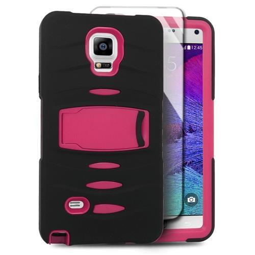 Insten Skin Hybrid Rubber Hard Case w/stand/Installed For Samsung Galaxy Note 4, Black/Hot Pink