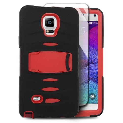 Insten Soft Hybrid Rubber Hard Cover Case w/stand/Installed For Samsung Galaxy Note 4, Black/Red