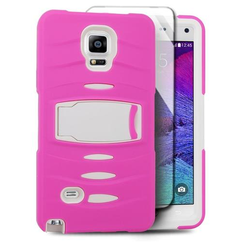 Insten Skin Hybrid Rubber Hard Case w/stand/Installed For Samsung Galaxy Note 4, Hot Pink/White
