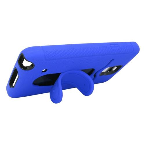 Insten Skin Dual Layer Rubber Hard Case w/stand/card slot For Samsung Galaxy Note 4, Blue/Black