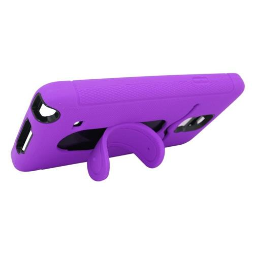 Insten Soft Dual Layer Rubber Hard Case w/stand/card slot For Samsung Galaxy Note 4, Purple/Black