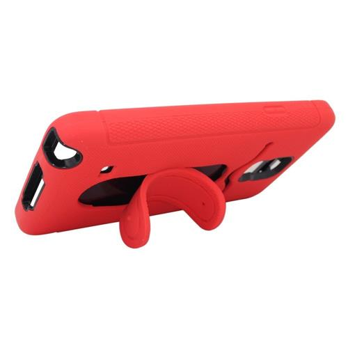 Insten Soft Hybrid Rubber Hard Cover Case w/stand/card holder For Samsung Galaxy Note 4, Red/Black