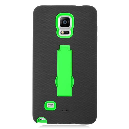 Insten Symbiosis HardRubber Coated Silicone Case w/stand For Samsung Galaxy Note 4, Black/Green