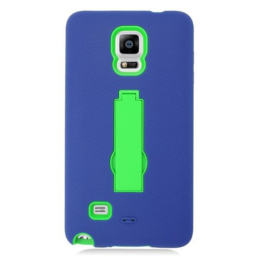 Insten Symbiosis Hard Hybrid Rubber Silicone Case w/stand For Samsung Galaxy Note 4, Blue/Green