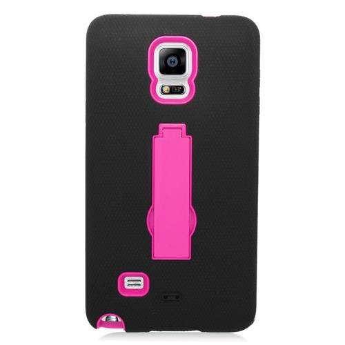 Insten Symbiosis HardRubberized Silicone Case w/stand For Samsung Galaxy Note 4, Black/Hot Pink