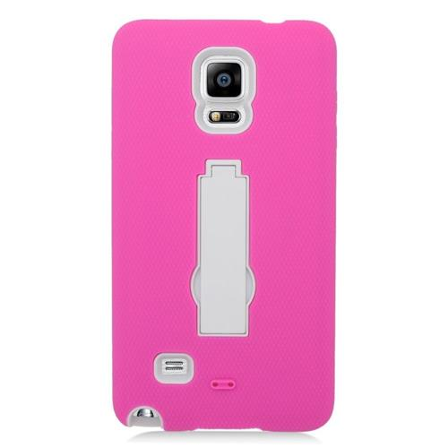 Insten Symbiosis HardRubberized Silicone Case w/stand For Samsung Galaxy Note 4, Hot Pink/White