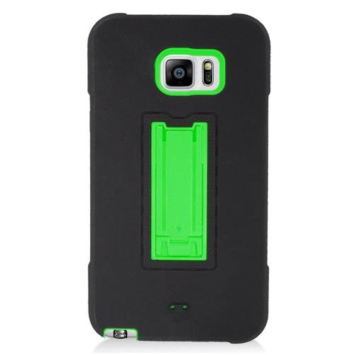 Insten Symbiosis Hard Hybrid Silicone Case w/stand For Samsung Galaxy Note 5, Black/Green