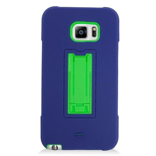 Insten Symbiosis Hard Hybrid Rubberized Silicone Case w/stand For Samsung Galaxy Note 5, Blue/Green