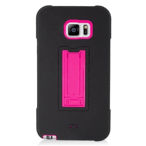 Insten Symbiosis Hard Hybrid Rubber Silicone Case w/stand For Samsung Galaxy Note 5, Black/Hot Pink